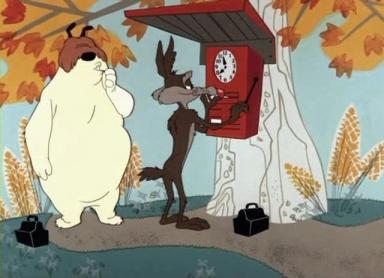 Sam Sheepdog and Ralph E. Wolf, clocking in.